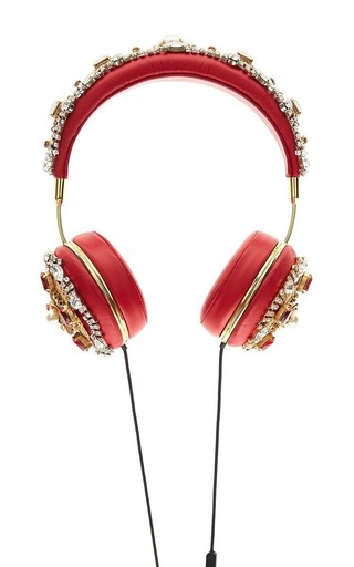 Medium dolce gabbana red red embroidered nappa leather headphones