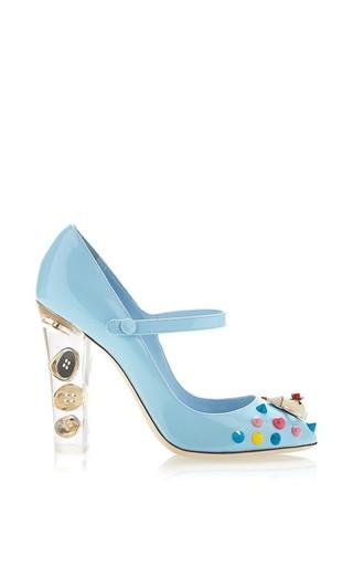 Medium dolce gabbana blue porcelain patent mary jane pump with transparent plexi heel