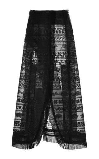 Medium thom browne black fair isle embroidered tulle wrap skirt