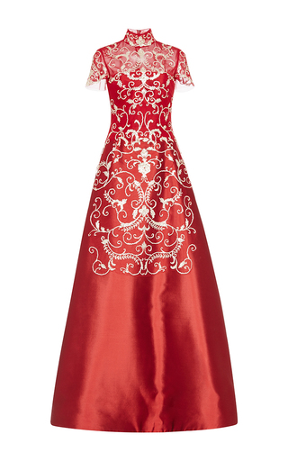 Medium reem acra red embroidered a line gown