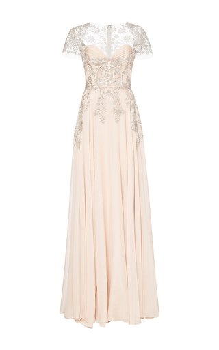 Medium reem acra pink embroidered circle skirt gown with ruched bodice