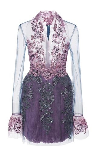 Medium reem acra blue re embroidered lace illusion dress