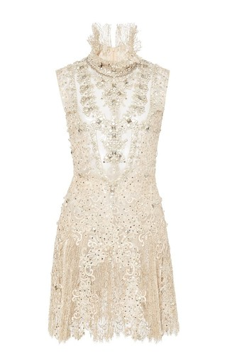 Medium reem acra white embroidered illusion lace dress with pleated hem