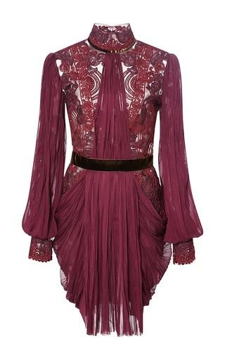 Medium reem acra red hand pleated silk chiffon blouson sleeve dress