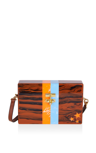 Medium edie parker brown small fawn trunk in stars and stripes