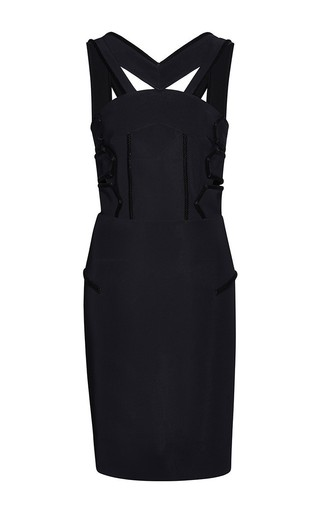 Medium roland mouret black black flocked altamira dress