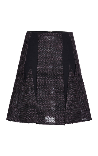 Medium roland mouret multi black striped wool cango skirt