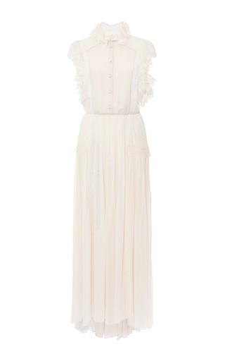 Medium philosophy di lorenzo serafini white button up ruffle silk gown