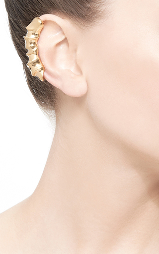 Gold Draped Clip On Earring by ANNELISE MICHELSON Now Available on Moda Operandi