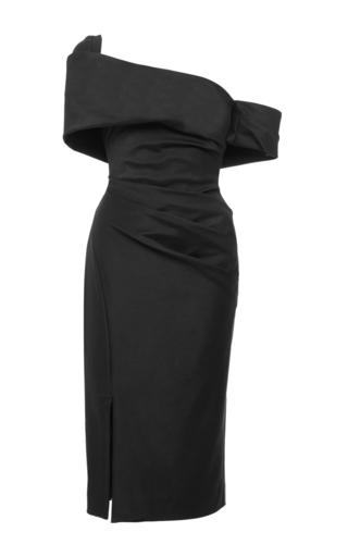 Medium haney black off the shoulder assymetric midi dress