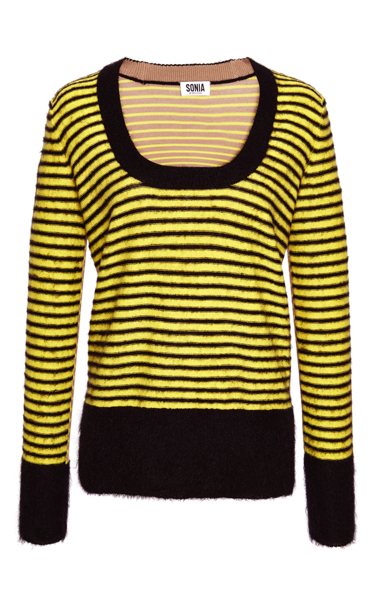 Yellow Wool And Mohair Striped Sweater By Sonia By Moda Operandi