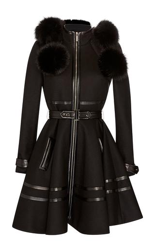 Medium elie saab black fox fur hooded coat