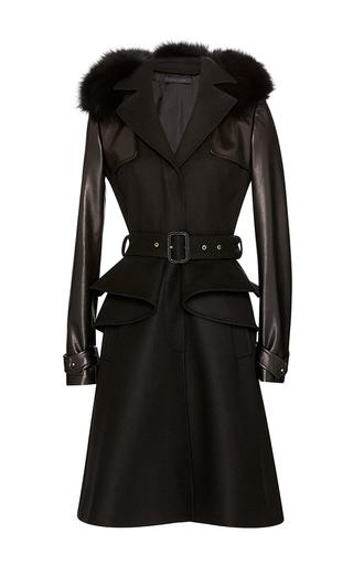 Medium elie saab black leather and wool peplum coat
