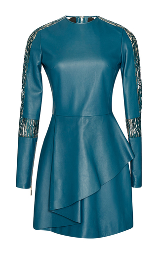Medium elie saab green leather and lace long sleeve dress