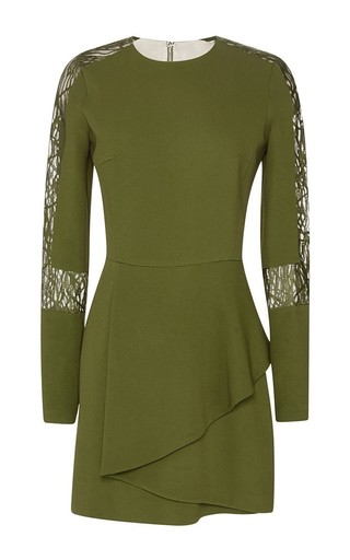 Medium elie saab green stretch cady lace long sleeve dress