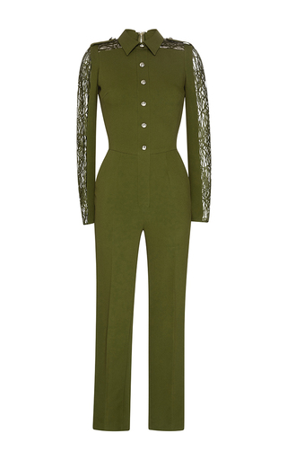 Medium elie saab green olive stretch cady lace long sleeve jumpsuit