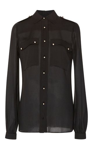 Medium elie saab black black double georgette button up blouse
