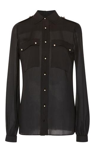 Medium elie saab black black double georgette button up blouse