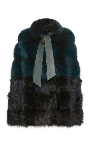 Medium elie saab blue fox fur degrade cape