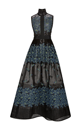 Medium elie saab black tree petal thread embroidered gown