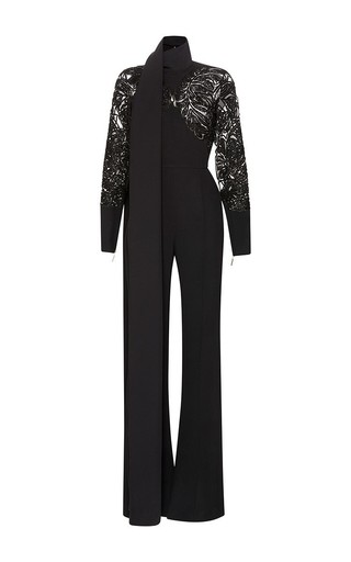 Medium elie saab black embroidered cady scarf neck jumpsuit