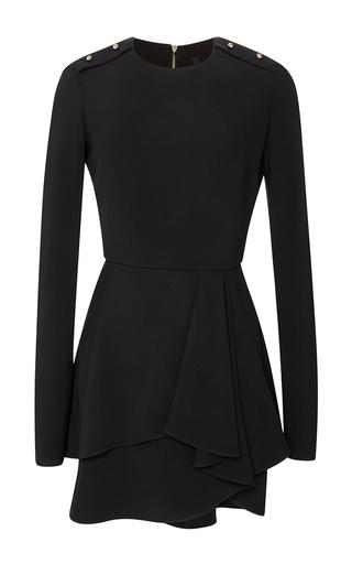 Medium elie saab black cady long sleeve mini dress