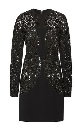Medium elie saab black embroidered cady sheath dress