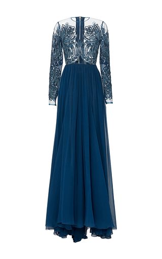 Medium elie saab blue embroidered silk tulle and georgette gown