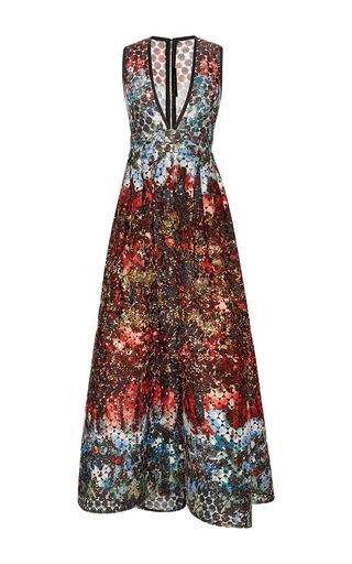 Medium elie saab red printed macrame lace v neck gown