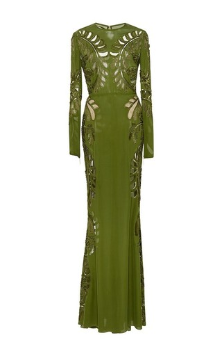 Medium elie saab green embroidered double georgette cutout gown