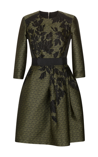 Medium elie saab green dancing forest jacquard dress