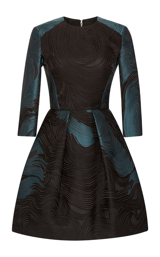 Medium elie saab black pine waves jacquard dress