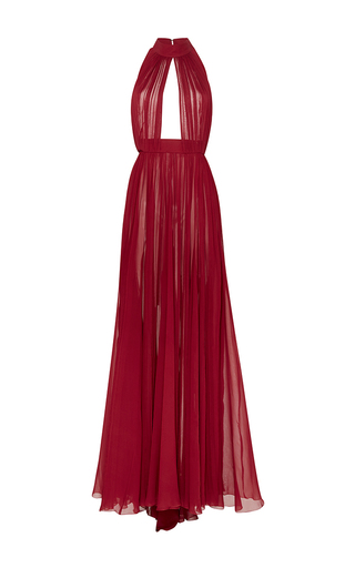 Medium elie saab red silk georgette halter long dress