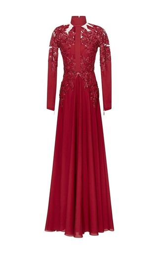 Medium elie saab red embroidered double silk georgette sheath gown