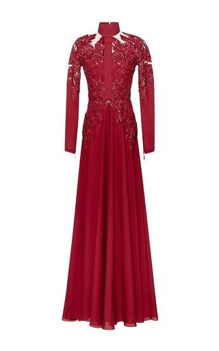 Medium elie saab red embroidered double silk georgette sheath gown