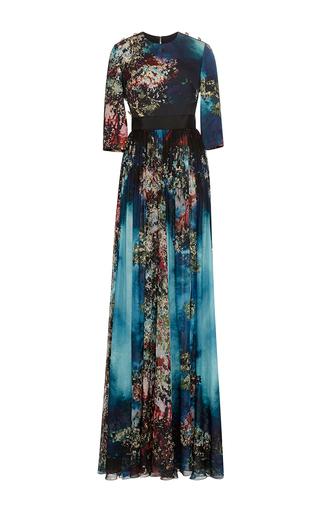 Medium elie saab multi printed cady and double georgette gown