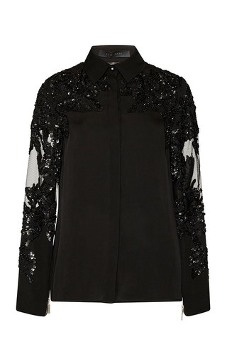 Medium elie saab black embroidered double georgette button up shirt