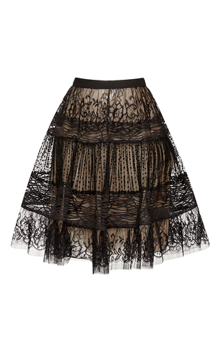Medium elie saab black lace flounced skirt