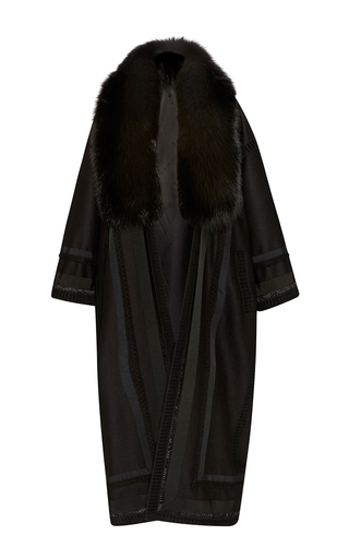 Medium elie saab black wool and fox fur loose coat