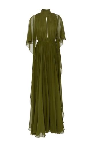 Medium elie saab green silk georgette capeline gown