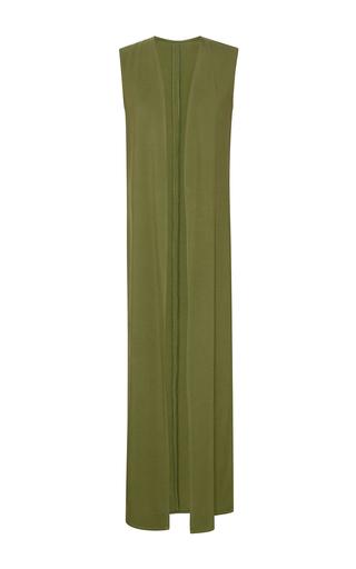 Medium elie saab green cady sleeveless duster jacket