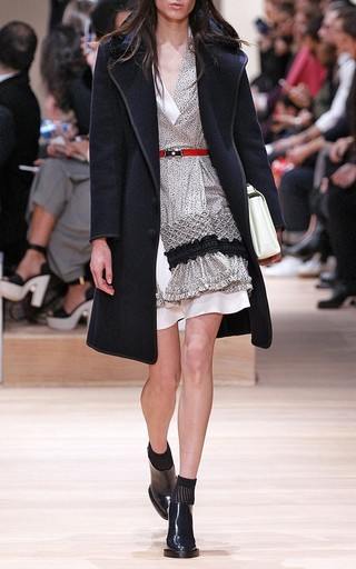 Wool Coat With Faux Astrakhan Trimmed Collar by CARVEN Now Available on Moda Operandi