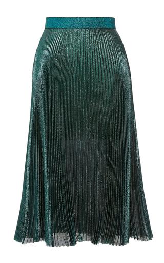 Medium christopher kane green lame pleated skirt