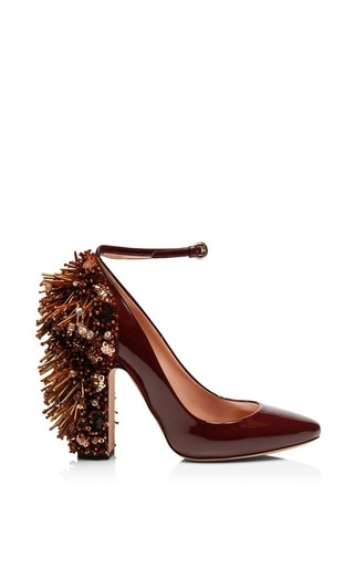 Medium rochas red bordeaux patent leather embellished pump