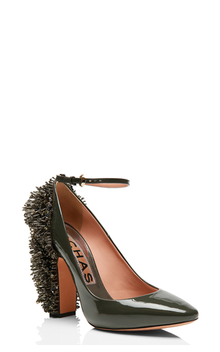 Khaki Patent Leather Embellished Pump by ROCHAS for Preorder on Moda Operandi