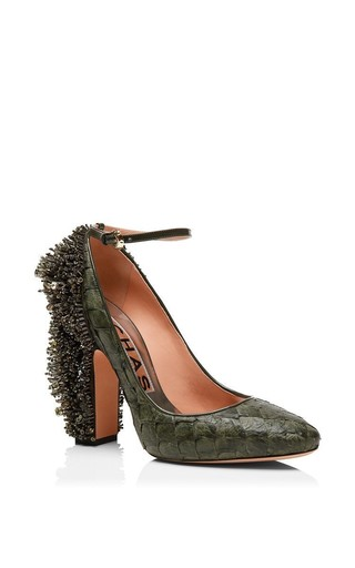 Khaki Pirarucu Embellished Pump by ROCHAS for Preorder on Moda Operandi