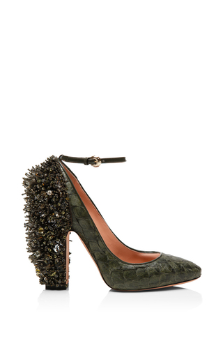 Medium rochas green khaki pirarucu embellished pump