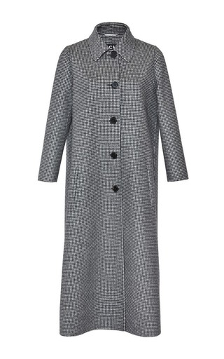 Medium rochas black pied de poule single breasted coat