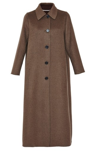 Medium rochas green olive wool cashmere coat