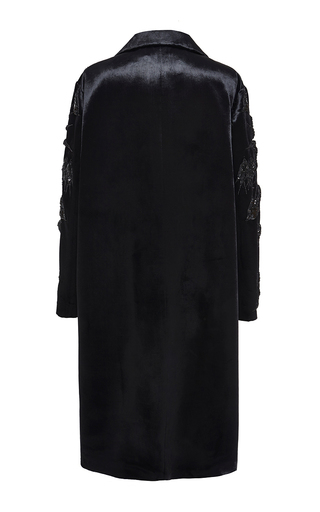 Embroidered Swallows Velvet Coat With Fur Pockets by ROCHAS for Preorder on Moda Operandi